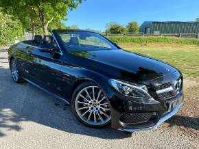 Mercedes-Benz C Class 2.1 C220d AMG Line Premium Plus 2dr Auto (19in Alloys! Red Roof! ++) Convertible Diesel Obsidian Black Metallic at Williams Group Ltd Maidstone