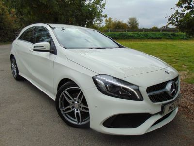 Mercedes-Benz A Class 1.5 A180d AMG Line Premium 5dr (Full Merc SH! 18in Alloys! ++) Hatchback Diesel Arctic WhiteMercedes-Benz A Class 1.5 A180d AMG Line Premium 5dr (Full Merc SH! 18in Alloys! ++) Hatchback Diesel Arctic White at Williams Group Maidstone