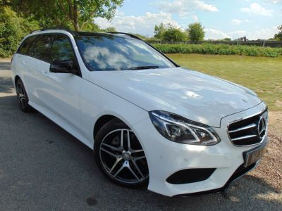 Mercedes-Benz E Class 3.0 E350 BlueTEC AMG Night Ed Premium 5dr 9G-Tronic (360 Camera! Pan Roof! ++) Estate Diesel WhiteMercedes-Benz E Class 3.0 E350 BlueTEC AMG Night Ed Premium 5dr 9G-Tronic (360 Camera! Pan Roof! ++) Estate Diesel White at Williams Group Maidstone